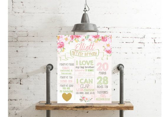 Floral Valentine First Birthday Poster Floral by themilkandcreamco