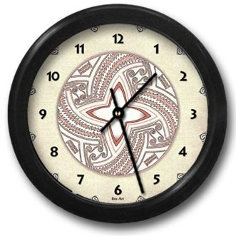 Pueblo Pot #2 Round Acrylic Wall Clock - From our Southwestern Clocks category, this clock features art work inspired by traditional Native American pottery designs.  $38.00