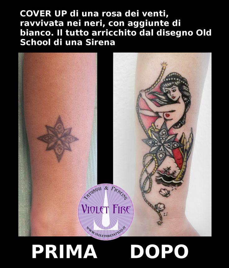 Tatuaggio cover up rosa dei venti con sirena old school - cover-up tattoo - violet fire tattoo - tatuaggi maranello, tatuaggi modena, tatuaggi sassuolo, tatuaggi fiorano, tatuaggio artistico - Adam Raia
