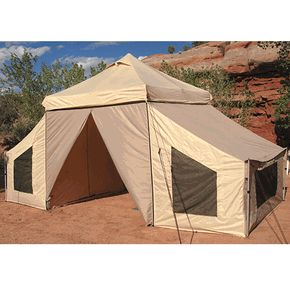 Instant Canopy style set up with sleeping rooms. Why don't some of the top mfgs make more versatile innovative shapes like this?  144 SQF APEX Base-Camp Tent w/Sleeping Rooms. $499