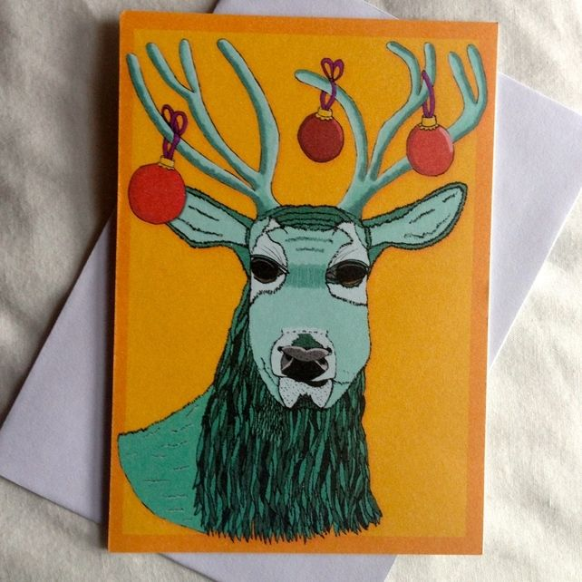 A6 Christmas Stag Greeting Card (Yellow Background)  £2.00