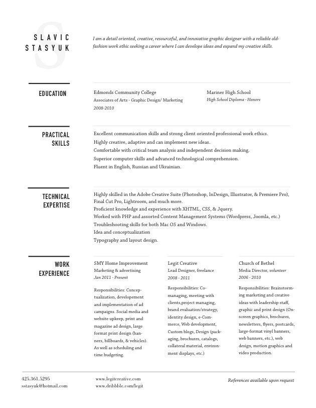 So simple, so crisp, so bold! Love the water mark and heading lines!   Resume Design, Resume Style, Creative Resumes, Creative Resume Style, Creative Resume Design, Curriculum Vitae, CV.  Slavic Stasyuk, designer