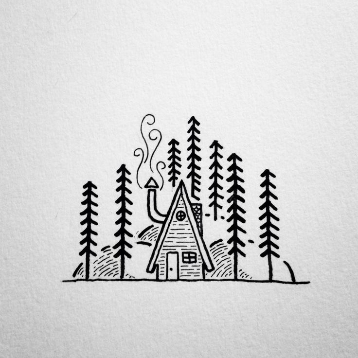 A simple line drawing of an a frame cabin