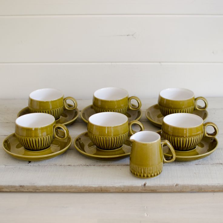 Vintage Olive Langley Denby Coffee Cup Set comprising 6 cups and saucers with a milk jug. This is a lovely example of retro 1970s.