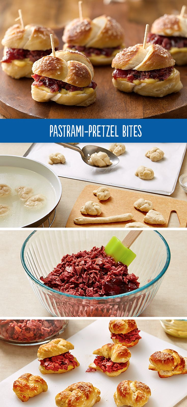 Yummy combination of sweet, heat and meat! Create Pastrami-Pretzel Bites with biscuits to tie the knot and have a savory-sweet filling.