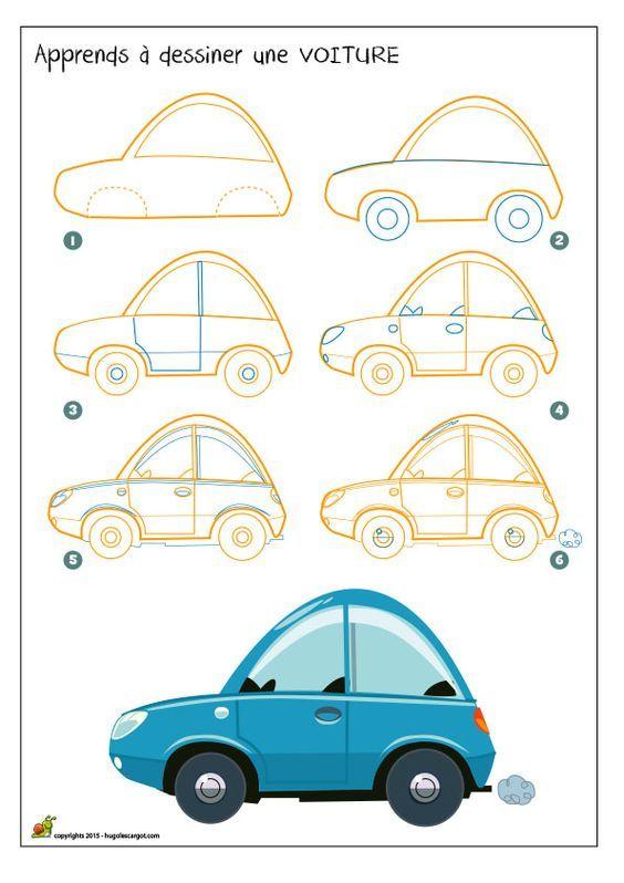Apprendre à dessiner une petite voiture qui roule:
