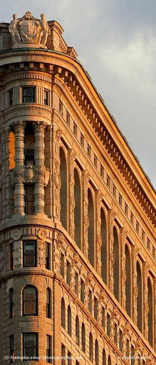 The Flatiron Building, NYC. Partial close-up detail.
