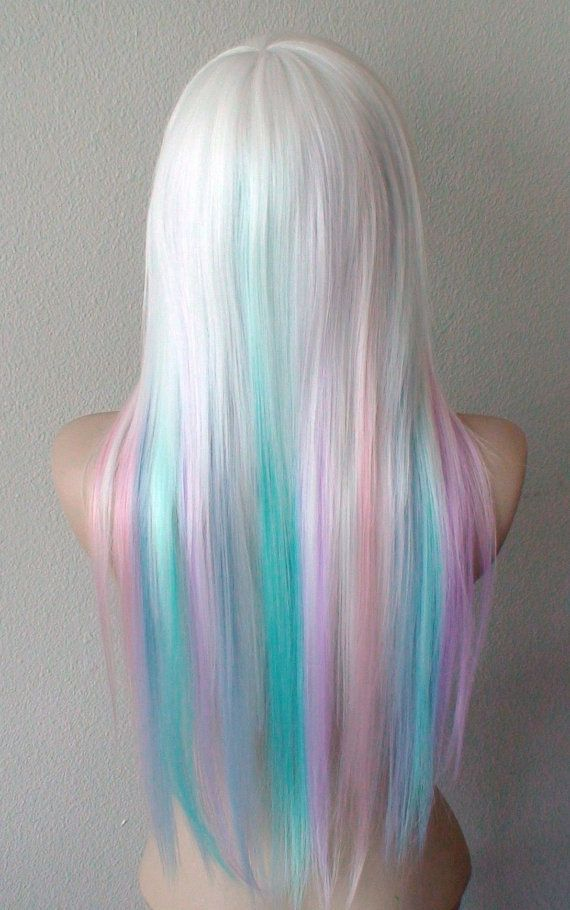 Pastel Rainbow wig. White hair with Candy pink Lilac by kekeshop