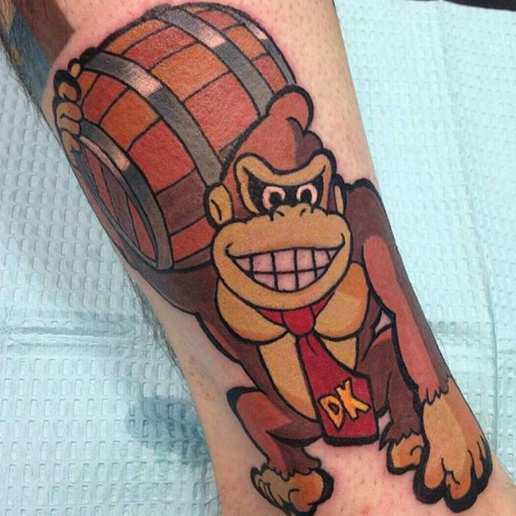 """DK Tattoo By @brian_russell #donkeykong #donkeykongtattoo"