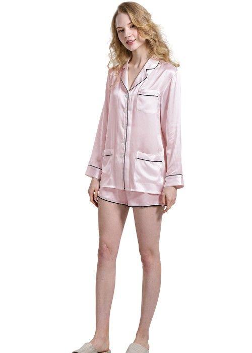 981a9bbea7 Womens Silk Sleep Shirt And Shorts Set in 2019
