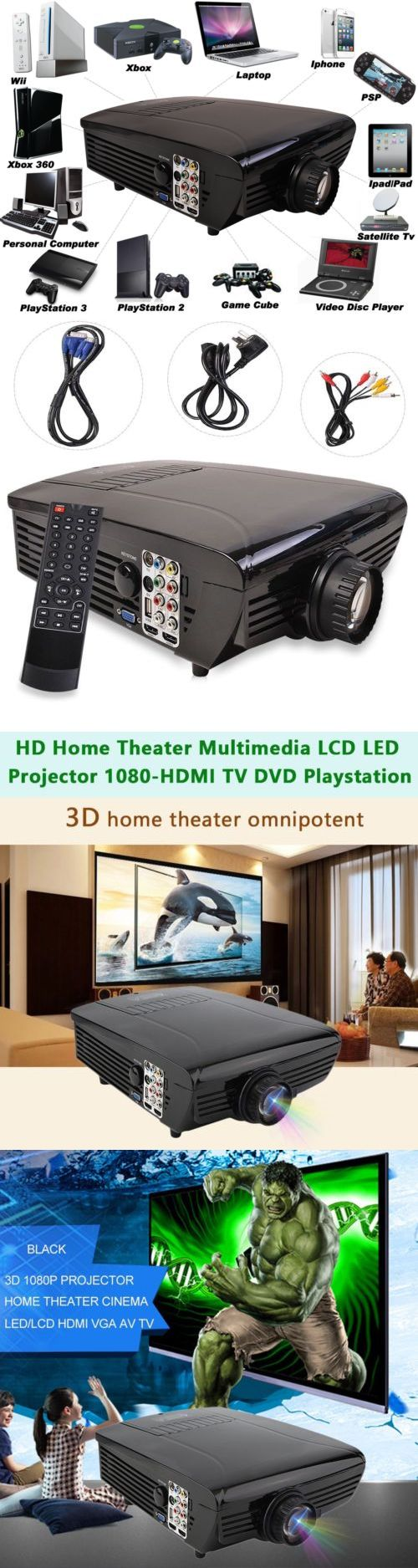 Home Theater Projectors: 7000Lm Hd Home Theater Multimedia Lcd Led Projector 1080-Hdmi Tv Dvd Playstation -> BUY IT NOW ONLY: $122 on eBay!