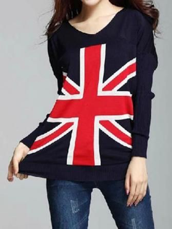 Loose Bat Shirt British Union Jack Sweater
