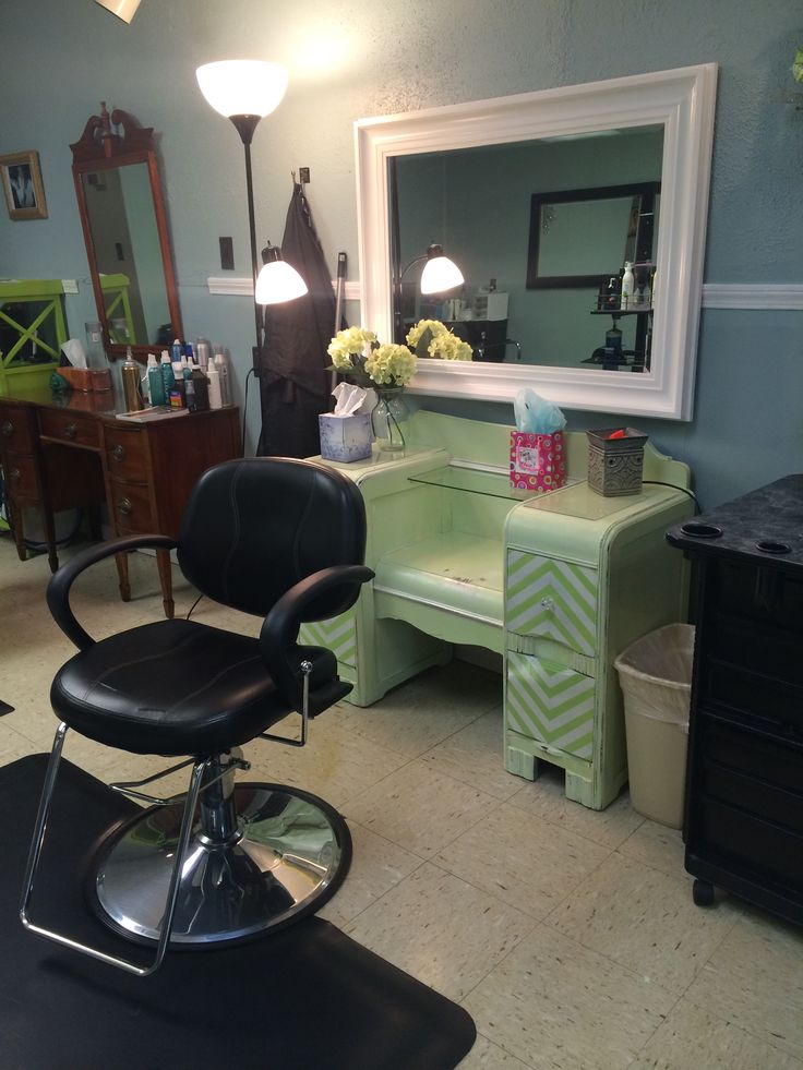 Mint green distressed dresser turned into a salon styling for A p beauty salon vancouver wa