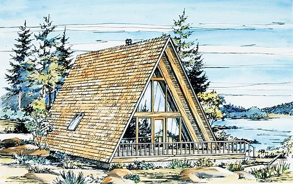 #HousePlan 57368   This 908 sq. ft. #Aframe has extras including a balcony, fireplace, wood stove or pellet stove, and a  loft.
