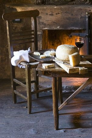 A simple yet fireside feast of Pecorino cheese and Burgundy for one in Abruzzo, Italy | Stefano Scatà Photography ᘡղbᘠ