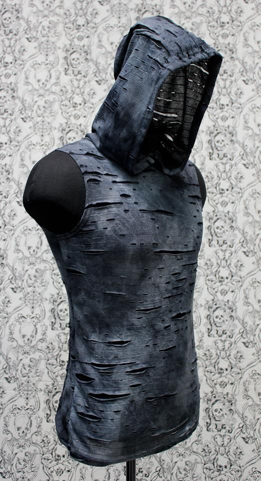 Men's Hoodie T - Blue Decayed Fabric. You'll definitely stand out with this shirt.