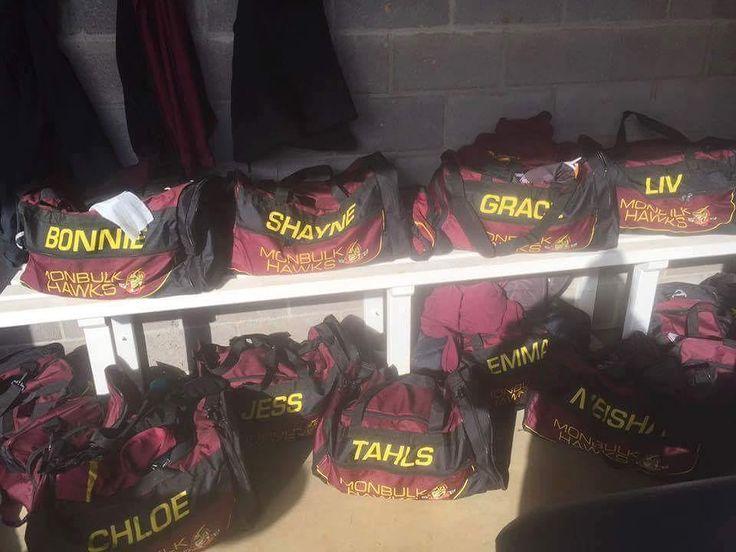 Monbulk Hawks netball girls loving the FLYHISPORTS bags #flyhisports #merchandise