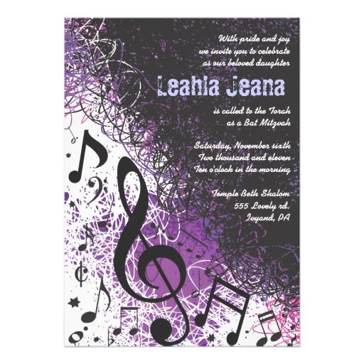 10 best music note invites images on pinterest music lyrics crazy musical notes bar mitzvah invitation purple violet stopboris Image collections