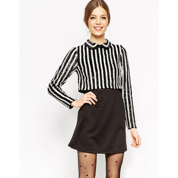 ASOS Sequin Stripe Crop Top Mini Dress ($107) ❤ liked on Polyvore featuring dresses, multi, short sequin dress, black sequin cocktail dress, asos dresses, sequin cocktail dresses and layered dress