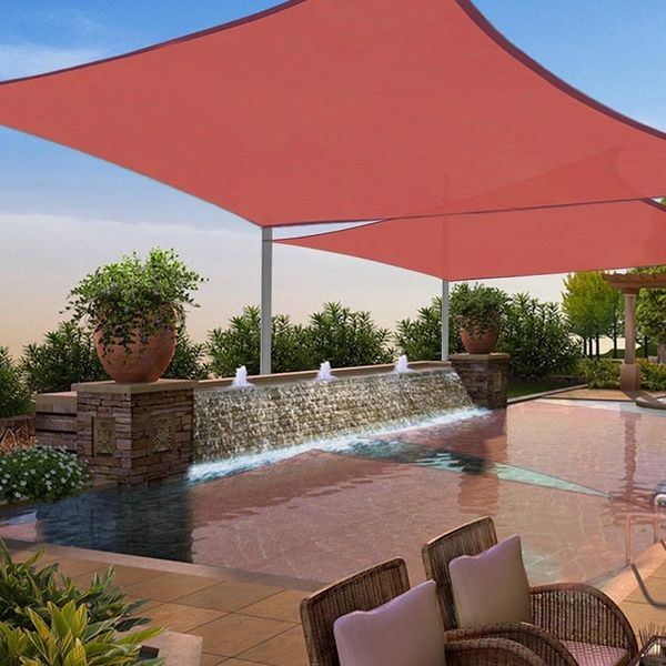 Andyes 2 Pcs 12x12 Square Sun Shade Sail Top Outdoor Canopy Uv Blocking Patio Cover Red Patio Canopy Outdoor Sun Sail Shade