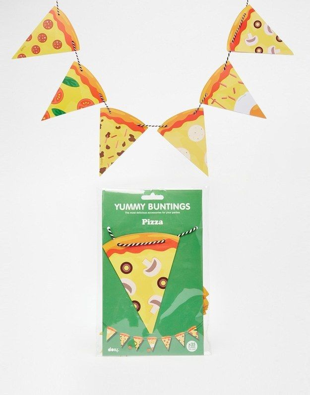 Bunting to decorate your dining room.   27 Products For People Who Are Completely Obsessed With Pizza