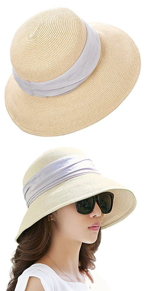 66da5a2b22f Siggi Womens Foldable Straw Cloche Panama Floppy Summer Beach Sun Hat Wide  Brim Beige