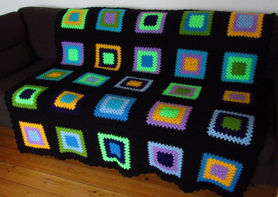 Measuring 50 inches x 50 inches (127 x 127cm) this crochet blanket is perfect for snuggling under on the sofa or cuddling up with in your favourite chair.