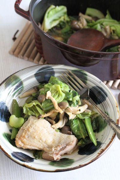 春野菜と鶏もも肉の和風ストウブ蒸し   #recipes #staub