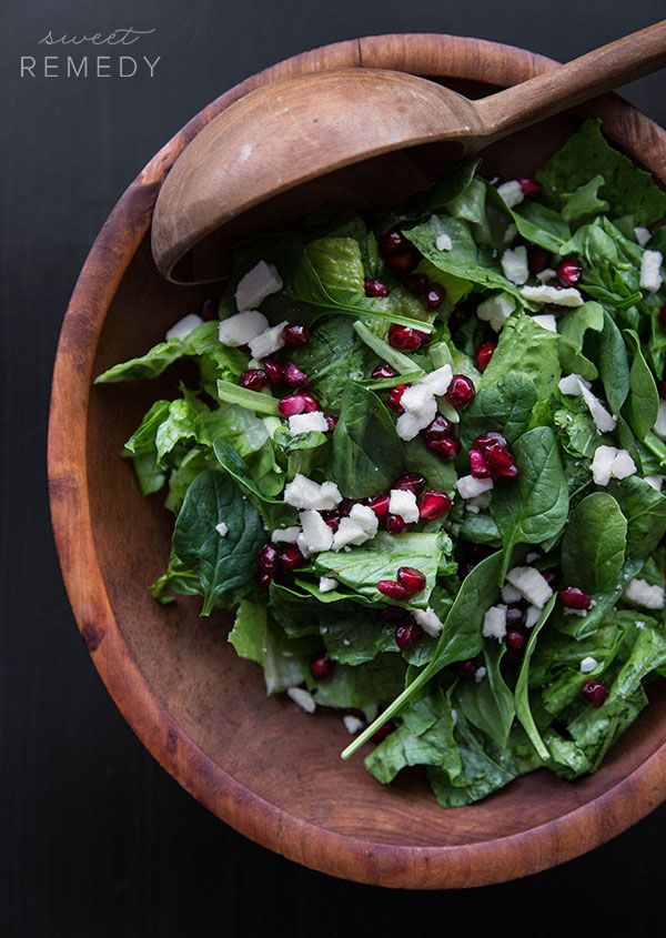 Spinach Pomegranate and Feta Salad with Pomegranate Balsamic Dressing | Sweet-Remedy.com