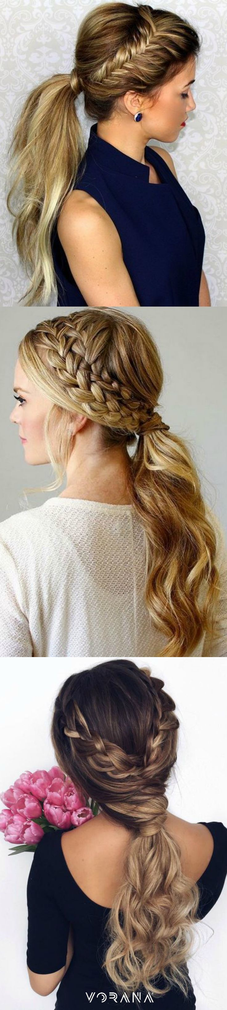 Varia tus estilos con estas combinaciones de trenzas y ponytail. #Haistyle #Braid #Trenzas