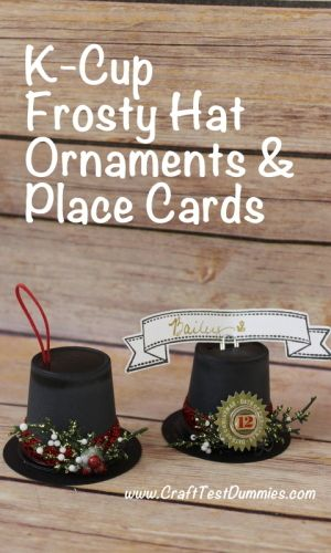 kcup frosty hat ornaments and place card holders