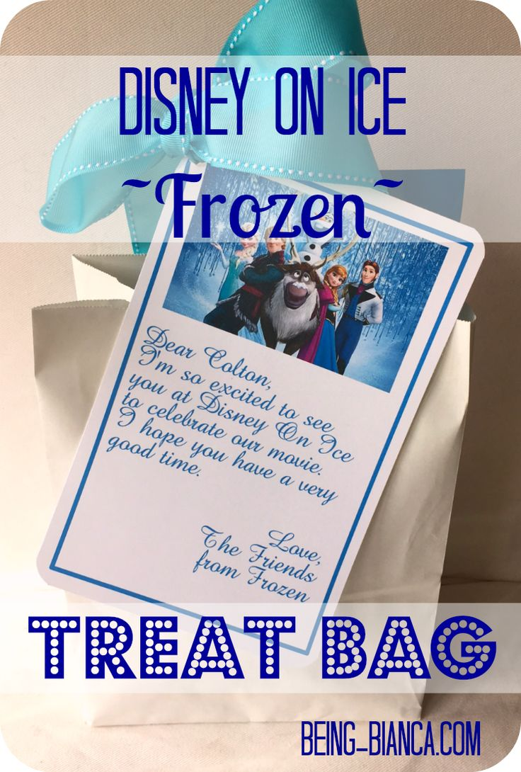 Save on snacks and treats at Disney's On Ice by taking a few of your own!  Cute Frozen themed treat bags = fun for the littles (and happiness for mom!)