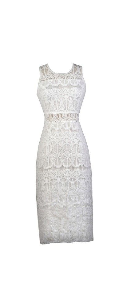 Lily Boutique In The Middle Lace Midi Pencil Dress in Ivory, $45 White Lace Midi Dress, White Lace Pencil Longer Length Dress, Cute Lace Pencil Dress www.lilyboutique.com