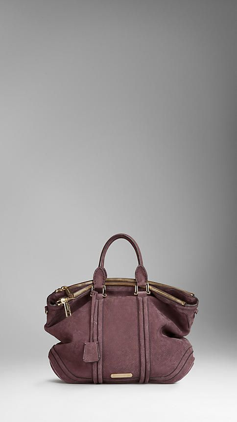 Burberry Large Luggage Suede Tote Bag