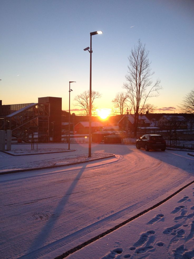 Norway sunset Raade train station