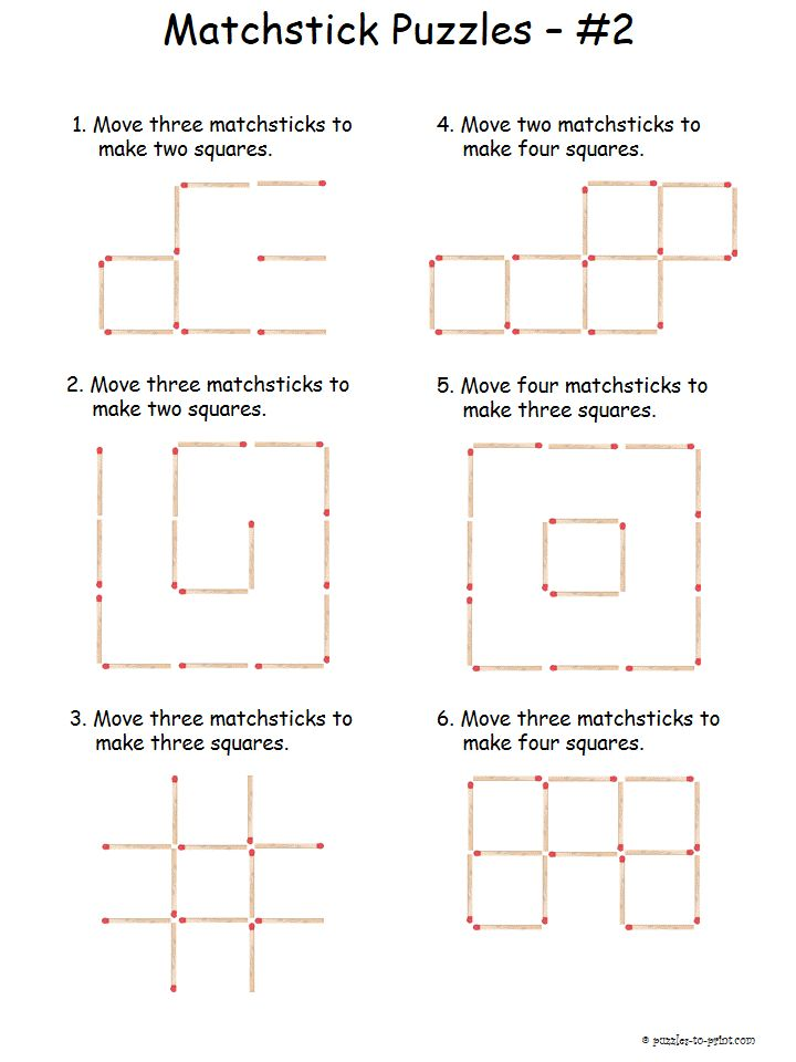 This is the second sheet in our series of matchstick puzzles.  These are a bit more challenging so we qualify them as intermediate.  Great for stiumulating lateral thinking.