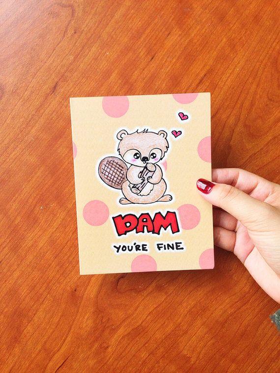 Grappige Valentijn kaart grappig, grappige valentines kaart vriendje met Valentijnsdag kaart vrouw, verjaardag kaart, Funny verjaardag kaart, Bever card