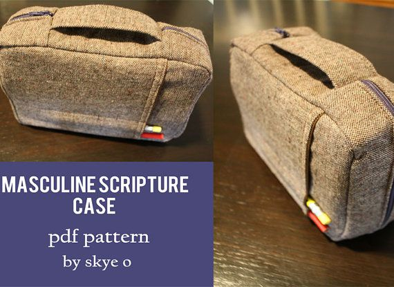 Sewing pdf PATTERN for masculine scripture case. Made to fit LDS regular size Bible and Book of Mormon or Regular Quad only. A larger pattern will also