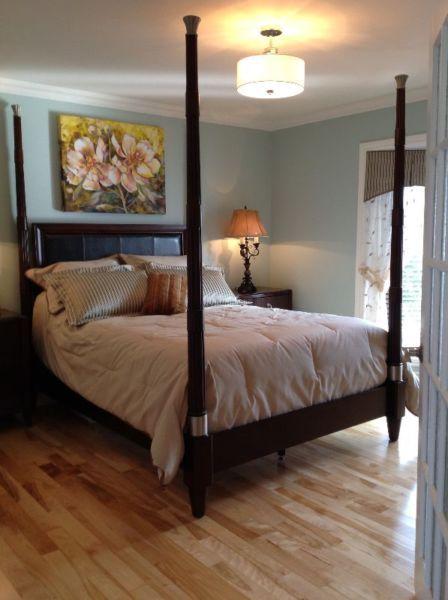 base de lit queen en bois de couleur acajou avec tte de lit avec - Coloration Epicea L Oreal