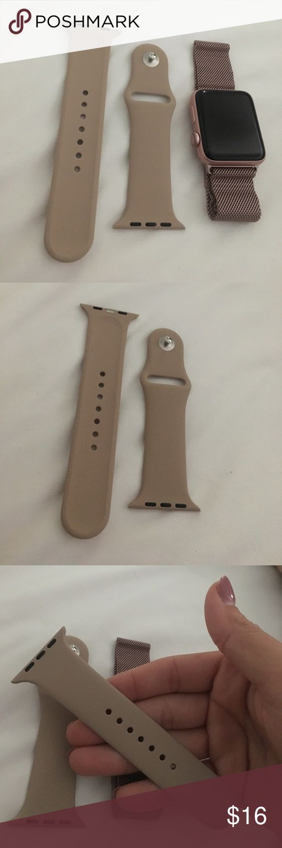Nude Apple Watch band NWT Never worn and perfect condition!! Thought i would change out my bands but didn't bring myself to do so too much! My parents got this for me. Not from Apple Watch store - so!! Price reflects but i honestly cannot tell the difference. All offers (good) will be accepted so please use the button! SMALL/MEDIUM apple Accessories Watches