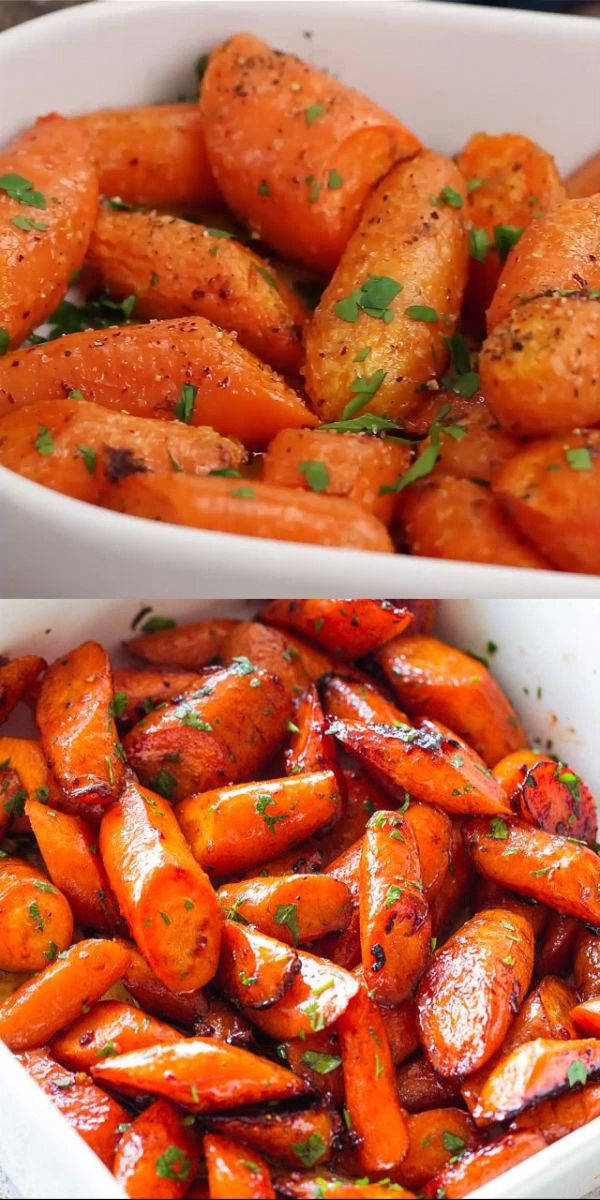 GARLIC BUTTER ROASTED CARROTS! Ridiculously easy, yet tender and SO incredibly d…