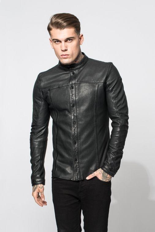 Lederhemd ELLIOT in vintage schwarz für Herren