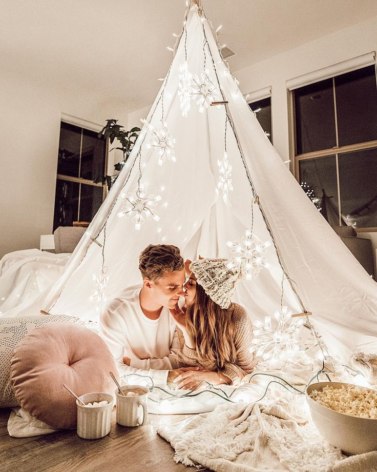 "32.1k Likes, 438 Comments - JACI CARLSON (SMITH) (@jacimariesmith) on Instagram: ""Ultimate Cozy Date Night: All you need is some sheets, blankets, pillows, Christmas lights,…"""