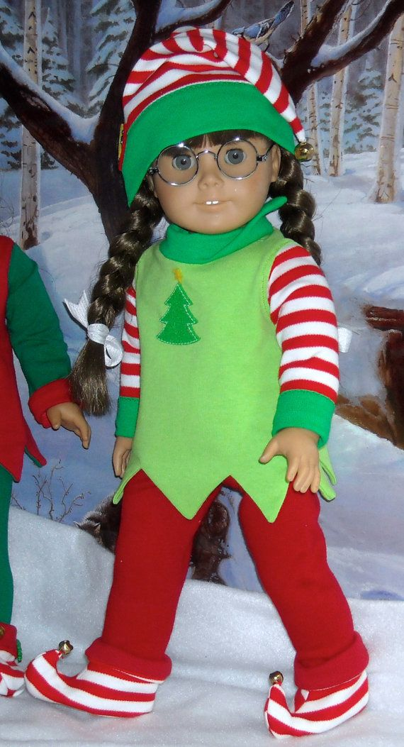 Holiday Elf costume in bright green by SugarloafDollClothes