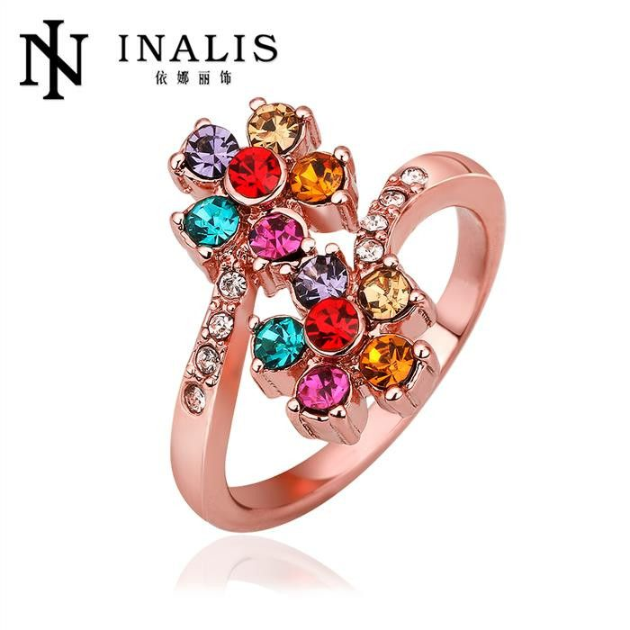 Antiallergic 18K Real Gold Plated Multicolor Zircon Dimond Ring For Women Wedding Engagement Rings Wholesale