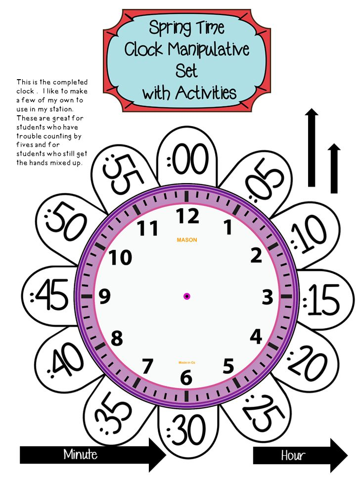 Telling Time To The Hour And Half Hour K 2 Pinterest