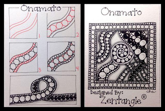 Zentangle® : Tangle Pattern : Onamato drawn by ha! designs