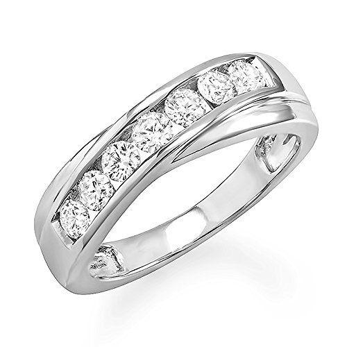 0.90 Carat (ctw) 14k White Gold Round Diamond Mens Wedding Anniversary Band Ring