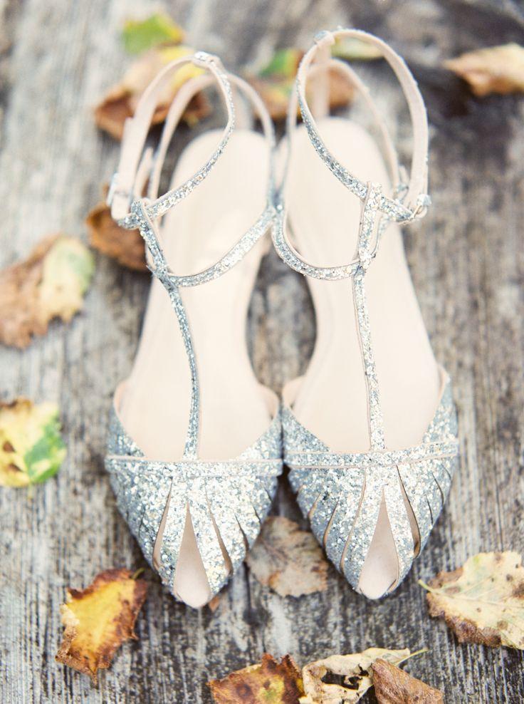 Sparkly silver bridal heels | Erich McVey Photography