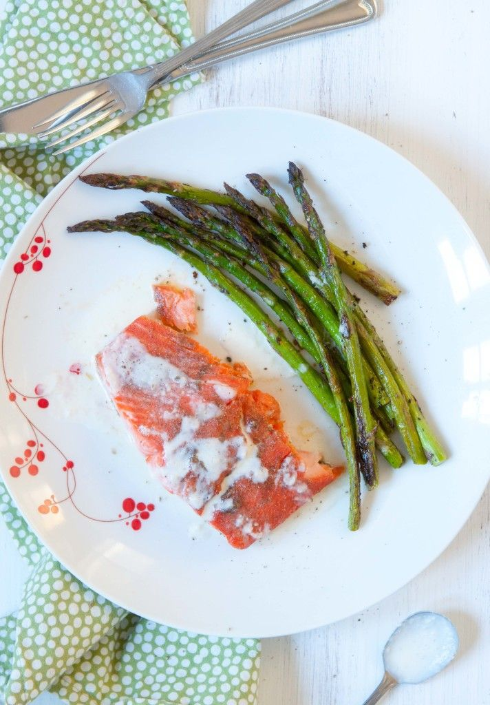 Roasted salmon with gravlax-style marinade